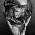 M.C. Escher's lithograph artwork, 'Hand with Reflecting Sphere', but with Ke$ha edited in in place of his reflection.