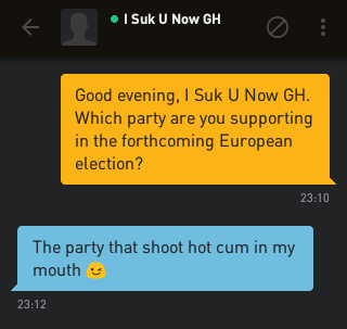 Me: Good evening, I Suk U Now GH. Which party are you supporting in the forthcoming European election? I Suk U Now GH: The party that shoot hot cum in my mouth 😉