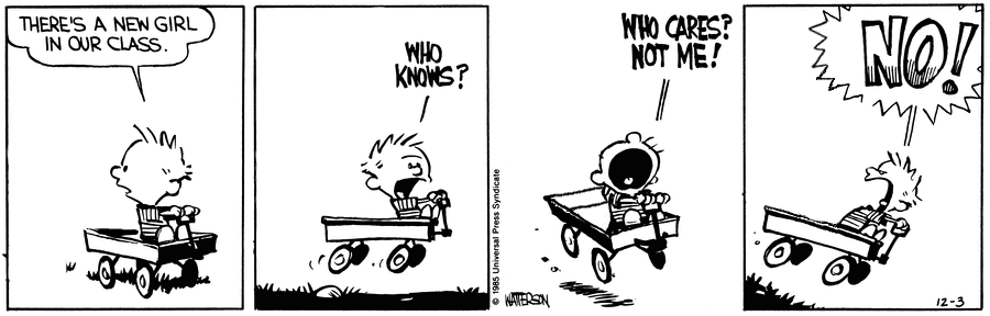 A Calvin and Hobbes strip. Panel 1: Calvin, alone in his wagon, says to nobody 'THERE'S A NEW GIRL IN OUR CLASS'. Panel 2: 'WHO KNOWS?', he continues. Panel 3: 'WHO CARES? NOT ME!', he continues. Panel 4: 'NO!', he yells.