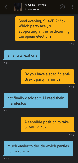 Me: Good evening, SLAVE 2 f*ck. Which party are you supporting in the forthcoming European election? SLAVE 2 f*ck: an anti Brexit one Me: Do you have a specific anti-Brexit party in mind? SLAVE 2 f*ck: not finally decided till i read their manifestos Me: A sensible position to take, SLAVE 2 f*ck. SLAVE 2 f*ck: much easier to decide which parties not to vote for
