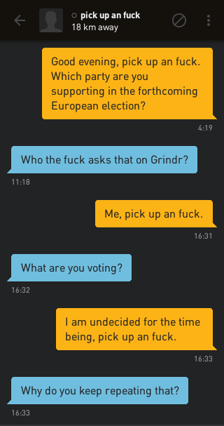 Me: Good evening, pick up an fuck. Which party are you supporting in the forthcoming European election? pick up an fuck: Who the fuck asks that on Grindr? Me: Me, pick up an fuck. pick up an fuck: What are you voting? Me: I am undecided for the time being, pick up an fuck. pick up an fuck: Why do you keep repeating that?