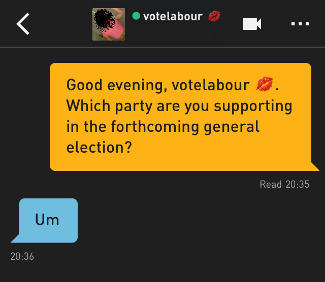 Me: Good evening, votelabour 💋. Which party are you supporting in the forthcoming general election? votelabour 💋: Um