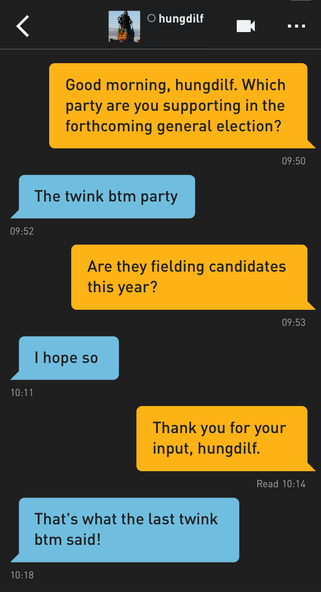 Me: Good morning, hungdilf. Which party are you supporting in the forthcoming general election?