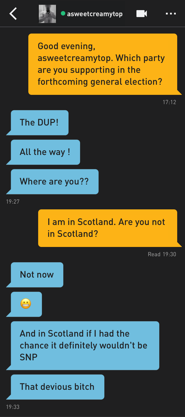 Me: Good evening, asweetcreamytop. Which party are you supporting in the forthcoming general election?