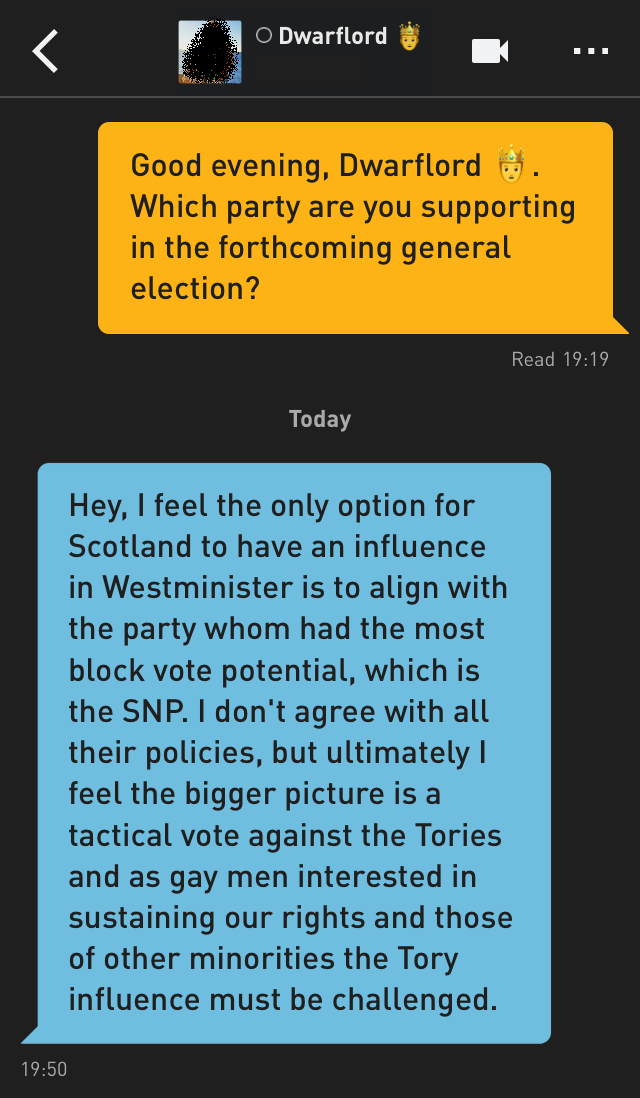 Me: Good evening, Dwarflord 🤴. Which party are you supporting in the forthcoming general election?