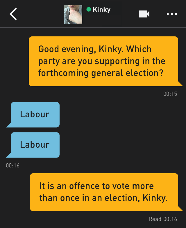 Me: Good evening, Kinky. Which party are you supporting in the forthcoming general election? Kinky: Labour Kinky: Labour Me: It is an offence to vote more than once in an election, Kinky.