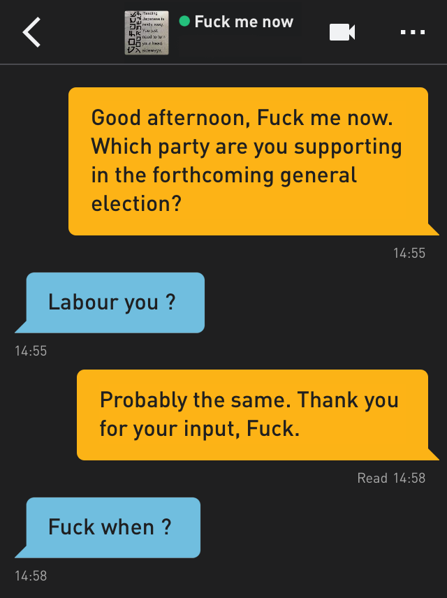 Me: Good afternoon, Fuck me now. Which party are you supporting in the forthcoming general election?