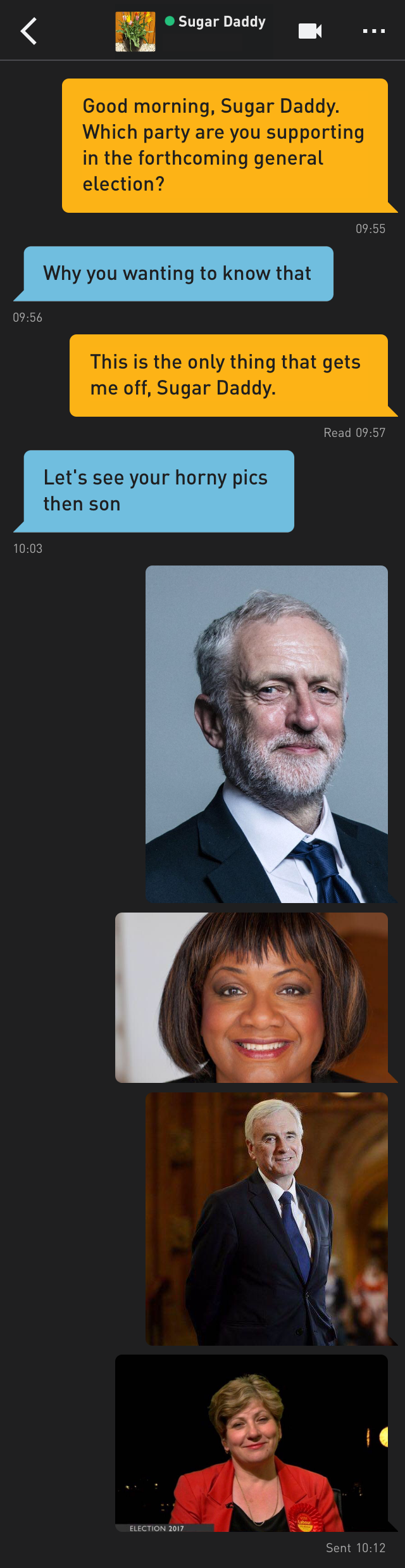 Me: Good morning, Sugar Daddy. Which party are you supporting in the forthcoming general election?