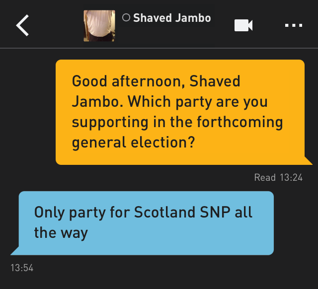 Me: Good afternoon, Shaved Jambo. Which party are you supporting in the forthcoming general election?