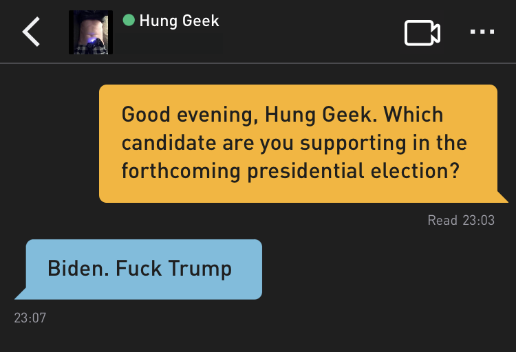 Me: Good evening, Hung Geek. Which candidate are you supporting in the forthcoming presidential election? Hung Geek: Biden. Fuck Trump