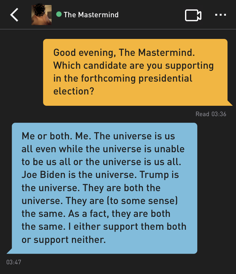Me: Good evening, The Mastermind. Which candidate are you supporting in the forthcoming presidential election? The Mastermind: Me or both. Me. The universe is us all even while the universe is unable to be us all or the universe is us all. Joe Biden is the universe. Trump is the universe. They are both the universe. They are (to some sense) the same. As a fact, they are both the same. I either support them both or support neither.