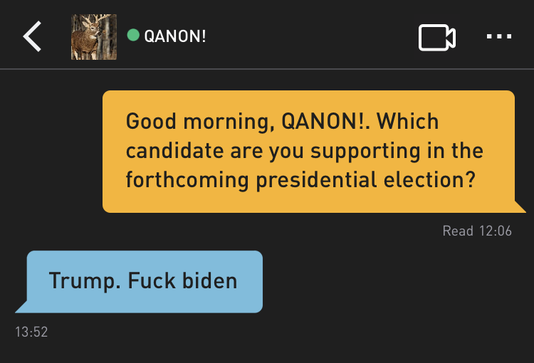 Me: Good morning, QANON!. Which candidate are you supporting in the forthcoming presidential election? QANON!: Trump. Fuck biden