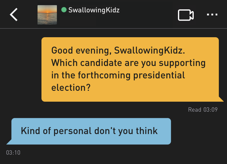Me: Good evening, SwallowingKidz. Which candidate are you supporting in the forthcoming presidential election? SwallowingKidz: Kind of personal don't you think