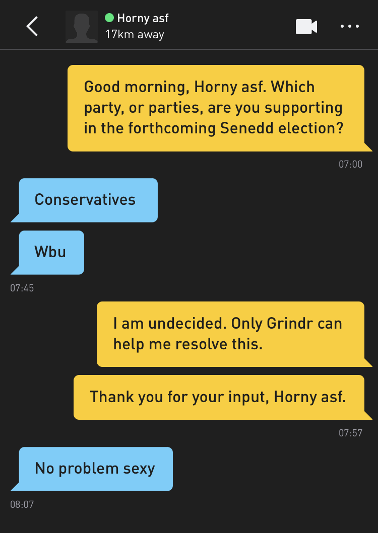 Me: Good morning, Horny asf. Which party, or parties, are you supporting in the forthcoming Senedd election? Horny asf: Conservatives Horny asf: Wbu Me: I am undecided. Only Grindr can help me resolve this. Me: Thank you for your input, Horny asf. Horny asf: No problem sexy