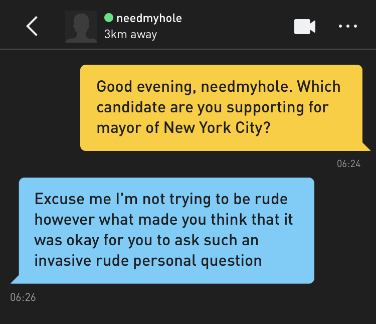 Me: Good evening, needmyhole. Which candidate are you supporting for mayor of New York City? needmyhole: Excuse me I'm not trying to be rude however what made you think that it was okay for you to ask such an invasive rude personal question