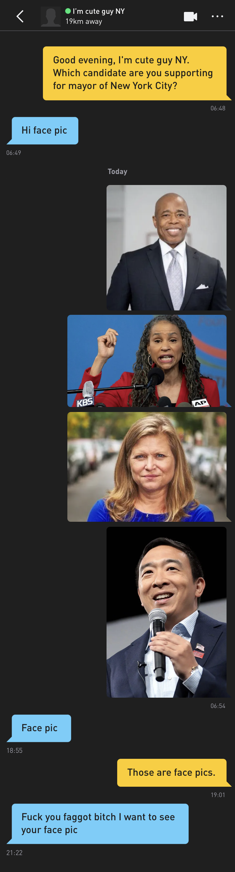Me: Good evening, I'm cute guy NY. Which candidate are you supporting for mayor of New York City? I'm cute guy NY: Hi face pic Me: [photos of candidates Eric Adams, Maya Wiley, Kathryn Garcia, and Andrew Yang] I'm cute guy NY: Face pic Me: Those are face pics I'm cute guy NY: Fuck you faggot bitch I want to see your face pic