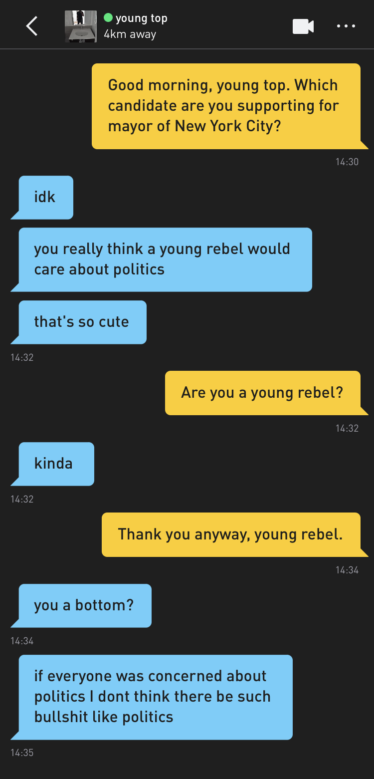 Me: Good morning, young top. Which candidate are you supporting for mayor of New York City? young top: idk young top: you really think a young rebel would care about politics young top: that's so cute Me: Are you a young rebel? young top: kinda Me: Thank you anyway, young rebel. young top: you a bottom? young top: if everyone was concerned about politics I dont think there be such bullshit like politics