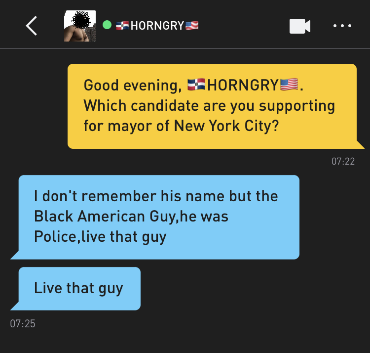 Me: Good evening, 🇩🇲HORNGRY🇺🇸. Which candidate are you supporting for mayor of New York City? 🇩🇲HORNGRY🇺🇸: I don't remember his name but the Black American Guy,he was Police,live that guy 🇩🇲HORNGRY🇺🇸: Live that guy