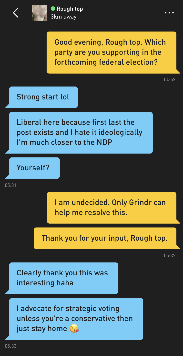 Me: Good evening, Rough top. Which party are you supporting in the forthcoming federal election? Rough top: Strong start lol Rough top: Liberal here because first last the post exists and I hate it ideologically I'm much closer to the NDP Rough top: Yourself? Me: I am undecided. Only Grindr can help me resolve this. Me: Thank you for your input, Rough top. Rough top: Clearly thank you this was interesting haha Rough top: I advocate for strategic voting unless you're a conservative then just stay home 😘