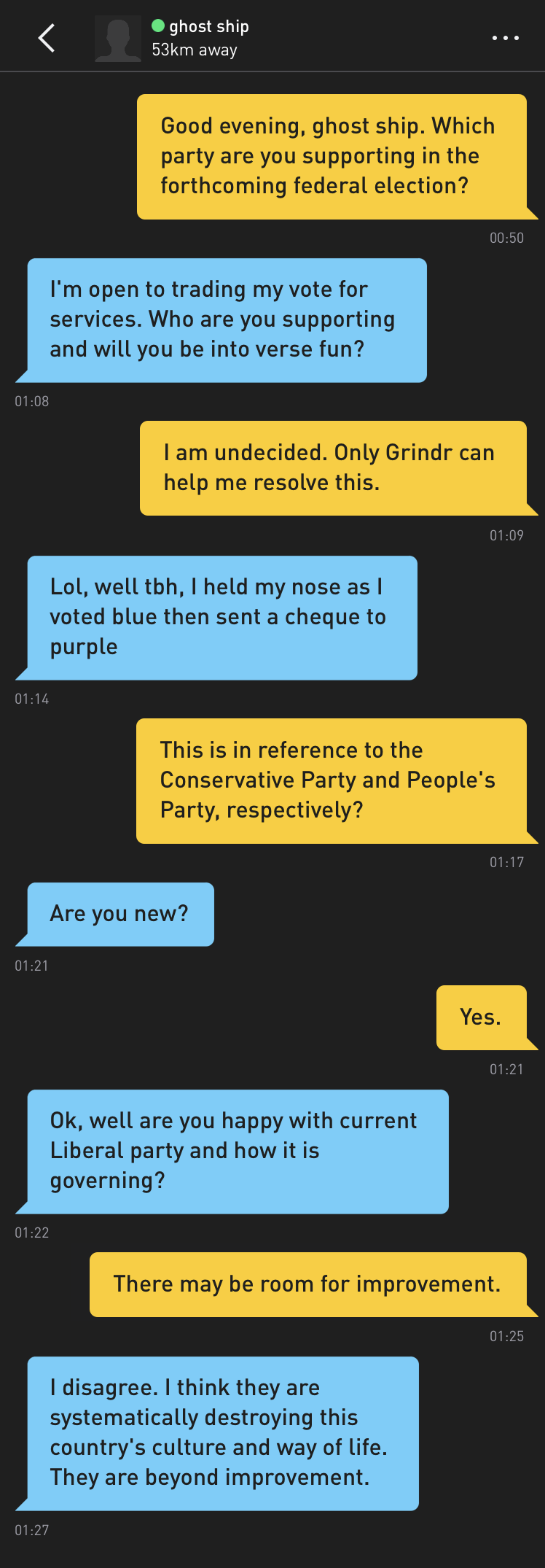 Me: Good evening, ghost ship. Which party are you supporting in the forthcoming federal election? ghost ship: I'm open to trading my vote for services. Who are you supporting and will you be into verse fun? Me: I am undecided. Only Grindr can help me resolve this. ghost ship: Lol, well tbh, I held my nose as I voted blue then sent a cheque to purple Me: This is in reference to the Conservative Party and People's Party, respectively? ghost ship: Are you new? Me: Yes. ghost ship: Ok, well are you happy with current Liberal party and how it is governing? Me: There may be room for improvement. ghost ship: I disagree. I think they are systematically destroying this country's culture and way of life. They are beyond improvement.
