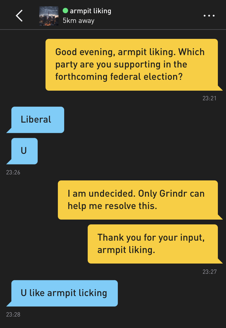 Me: Good evening, armpit liking. Which party are you supporting in the forthcoming federal election? armpit liking: Liberal armpit liking: U Me: I am undecided. Only Grindr can help me resolve this. Me: Thank you for your input, armpit liking. armpit liking: U like armpit licking
